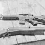 A Car 15 and a slightly modified M-79 grenade launcher-AKA the chunker. From Leo Corey.