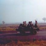 An unidentified Ranger team joy riding on a mule.